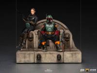THE MANDALORIAN - Boba Fett & Fennec on Throne DELUXE 1/10 Art Scale Statue Iron Studios